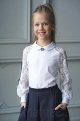 d9df28291c0 Описание  Блузка нарядная для школы. Блузка трикотажная для девочек с  кружевом
